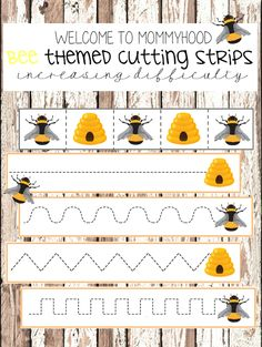 Free bee printables are great for spring activities. These Montessori printables help teach children scissor skills and strengthen hand muscles. Bee Activities, Cutting Activities, Montessori Activities, Spring Activities, Free Preschool, Preschool Lessons, Preschool Learning, Preschool Printables, Resource Room