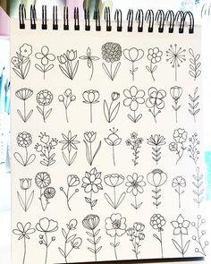 Drawing doodle drawings, doodle art, easy drawings, doodles of flowers, c. Bullet Journal Writing, Bullet Journal Ideas Pages, Bullet Journal Inspiration, Doodle Drawings, Easy Drawings, Easy Flower Drawings, Easy To Draw Flowers, Flower Drawing Tutorials, Floral Doodle