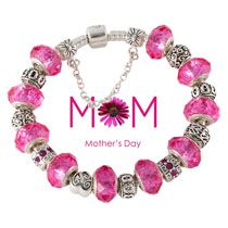 Pink murano glass beads mother's day gift charm beads European bracelet