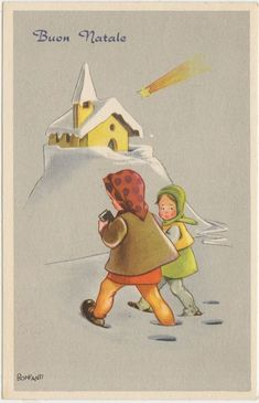 BUON NATALE - AUGURALE - BAMBINE - ILLUSTRATORE BONFANTI 1960