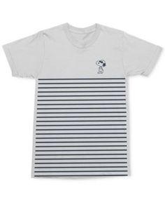 Mighty Fine Men's Snoopy Joe Cool Pose Stripe Graphic-Print Cotton T-Shirt - White S