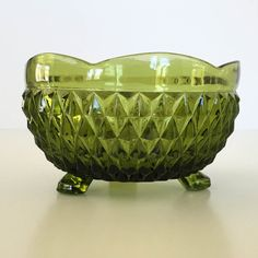 Indiana Glass  3 Footed Emerald Green Candy Dish  by VadieMae $7