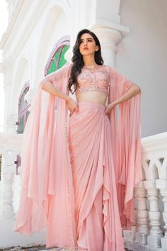 Blushes & Pastels : Seep Mahajan gives powdery pastels a glamorous spin for autumnal festivities WhatsApp us now for personal shopping experience! Party Wear Indian Dresses, Designer Party Wear Dresses, Indian Gowns Dresses, Indian Bridal Outfits, Indian Fashion Dresses, Dress Indian Style, Indian Designer Outfits, Girls Fashion Clothes, Gown Party Wear