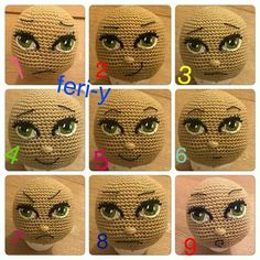Embroidered face for crocheted doll