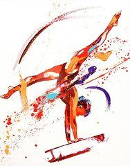 Sports Paintings - Gymnast One  by Penny Warden