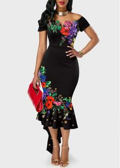 Off the Shoulder Retro Flower Print Black Sheath Dress – Bodycon Dress Cardigan Rose, Dress With Cardigan, The Dress, Belted Cardigan, Women's Fashion Dresses, Sexy Dresses, Dresses For Sale, Dresses Online, Fashion Fashion