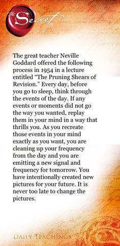 Every day, before you go to sleep, think through the events of the day. If any events or moments did not go the way you wanted, replay them in your mind in a way that thrills you. As you recreate those events in your mind exactly as you want, you are cleaning up your frequency from the day and you are emitting a new signal and frequency for tomorrow. You have intentionally created new pictures for your future. It is never too late to change the pictures. Rhonda Byrne