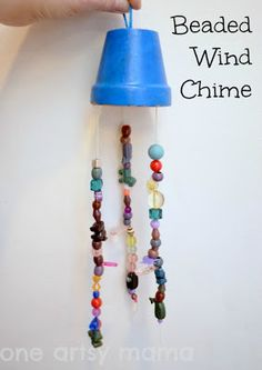 beaded windchime, terracotta pot, painted windchime #beads #craft #kids