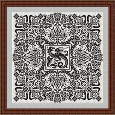 Dragon ornament cross stitch pattern mandala fractal Digital