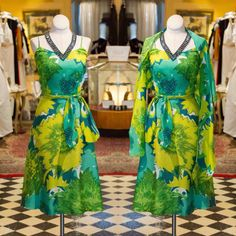 When I look at this dress I instantly think it belongs on a cruise ship somewhere beautiful! She's light, colorful and comes with additional fabrics I you can style her many different ways! #vintage #green #cabaretvintage  (at shop online: cabaretvintage.com)