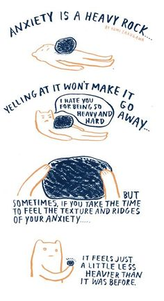 """Anxiety Is A Heavy Rock"" by Yumi Sakugawa"