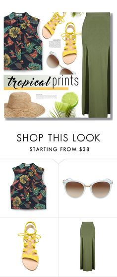 """Tropical"" by monmondefou ❤ liked on Polyvore featuring MANGO, Cornetti, Topshop, Nordstrom, Martha Stewart, yellow, GREEN, tropicalprints and hottropics"