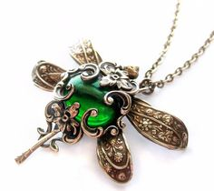 Dragonfly necklace green Victorian style pendant by Federikas, $69.00