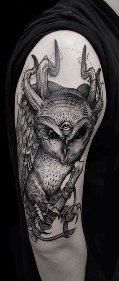 Art by Grindesign   tattoo owl