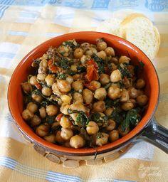 La cocina de Aisha: Garbanzos con espinacas, tomates secos y romero