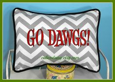 Go Dawgs Red & Black Embroidered  Pillow Cover with by calicodaisy, $30.00
