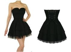 Hearts and Roses London Strapless Black Lace Gothic Emo Mini Party Prom Dress:Amazon:Clothing