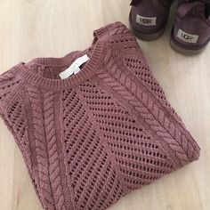 LOFT Sweater Lovely sweater in mauve. The needle point is just beautiful. You can wear it with a cami underneath or a long sleeve shirt depending on the weather. LOFT Sweaters