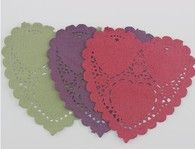 """4"""" Heart Paper Lace Doily- Red, Aubergine & Olive (6 pack) (SDLPDCH02)"""