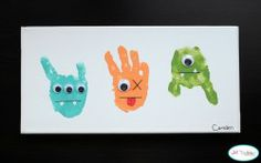 Handprint Monsters  Silly monsters made by your little ones with painted hands!
