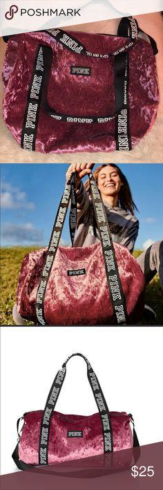 NWOT {PINK} VS Pink crushed velvet duffle bag NWOT {PINK} VS Pink crushed velvet duffle bag Never used Adjustable strap Perfect for weekend getaways! PINK Victoria's Secret Bags Travel Bags