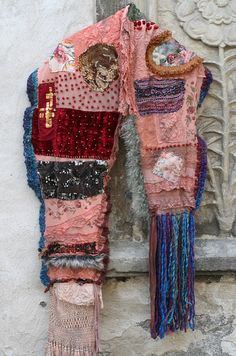 urban nomad III, - over the top, bold rustic textile collage shawl, oversize, textile art, embroidered,