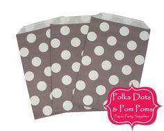 12 TAUPE Polka Dot Flat Paper Party Bags / Candy Buffet  /