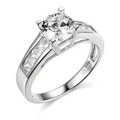 14k White Gold SOLID Wedding Engagement Ring  Size 9 -- Be sure to check out this awesome product.