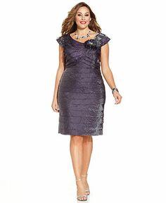 London Times Plus Size Cap-Sleeve Rosette Tiered Dress - Plus Size Dresses - Plus Sizes - Macy's
