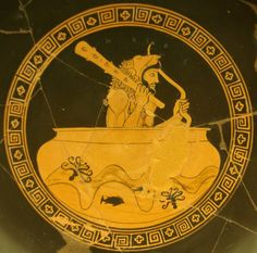 Red-figurekylix, Greek, dated around 480 BC.  The kylix displays the demi-god Hercules. According to Greek mythology, the sun-god, Helios, had allowed Hercules to borrow his golden cup-boat so that he could travel to Erytheia for the cattle of Geryon, where his tenth labour lay ahead.