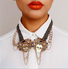 Skull necklace by Akira Amani London. #skull #gold #necklace #jewelry