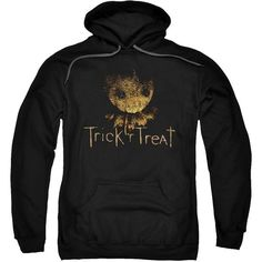 Trick 'R Treat Horror Zombie Comedy Movie Logo Adult Pull-Over Hoodie ($38) ❤ liked on Polyvore featuring tops, hoodies, logo top, hoodie top, sweatshirt hoodies, hooded pullover and logo hoodie