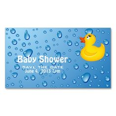 Yellow Duckie Baby Shower Save the Date Business Card Templates