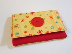 Yellow, Retro, Colorful, Womens Wallet, Change Purse, Fun, Trendy, Bright, With Button, Cash Holder, Card Holder by EyeCandyQuilts, $11.00