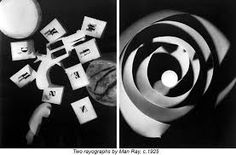 """Man Ray made his """"rayographs"""" without a camera by placing objects-such as the thumbtacks, coil of wire, and other circular forms used here-directly on a sheet of photosensitized paper and exposing it to light Man Ray Photograms, Man Ray Photos, Moholy Nagy, Photo Processing, Everyday Objects, Art History, Photography, Year 9, Futurism"""
