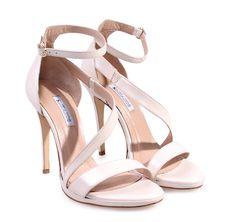 SAGIAKOS Ivory Leather Bridal High-heeled Sandals. Γυναικεία ιβουάρ δερμάτινα ψηλοτάκουνα νυφικά πέδιλα.