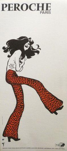 Peroche Paris poster by Gruau René  1970. hair design style line art