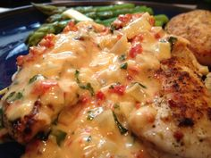 Chicken with sun dried tomato and fresh basil cream sauce.