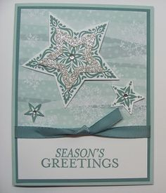 I like the Silver Glimmer star frame added to the main star image. It's an easy way to glitz it up. Lynn's lovely card features Bright and Beautiful, All is Calm dsp, Silver Glimmer Paper, Star Framelits, & more.  All supplies from Stampin' Up!