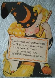 1940'a Halloween party invitation. Blond witch from givenewlife