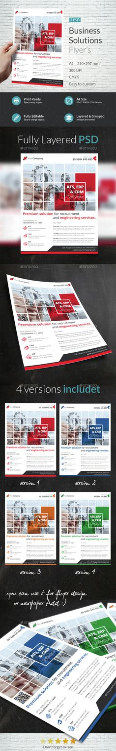 Business Solutions A4 Flyer Template PSD. Download here: http://graphicriver.net/item/business-solutions-a4-flyer/14895349?s_rank=110&ref=yinkira