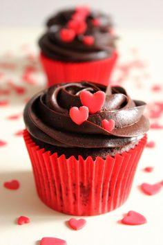 Cupcakes de chocolate para San Valentín