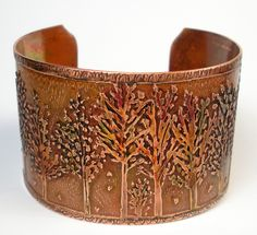 Etched Copper Bracelet Rustic Copper Cuff Womens by FebraRose, $159.00