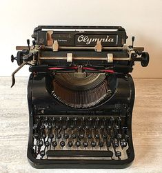 Olympia Model 8 Vintage 1940's Desk Typewriter in Gloss Black & Chrome #Olympia
