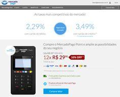 MercadoPago entra na concorrência das maquininhas de cartão de crédito e débito com a MercadoPago Point. Com tarifas competitivas.  Aceite cartões de crédito e débito com a máquina do MercadoPago Point! Você terá o seu dinheiro rápido e com as melhores tarifas. #MercadoPago #Point