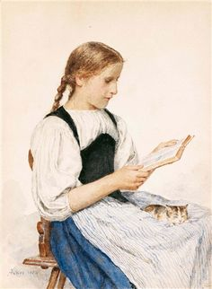 """""""Reading Girl with Kitten"""", also known as """"Lesendes Madchen Mit Katzchen"""" (1904), by Swiss artist - Albert Anker (1831-1910), Pencil and watercolor on paper, 33.5 x 24.5 cm., Owner/Location unknown."""