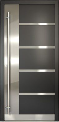 New Yorker Stainless Steel Modern Entry Door with Glass House