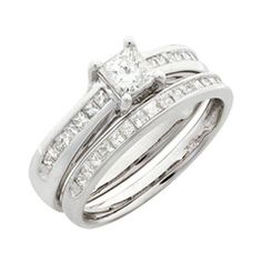 1-1/10 CT. T.W. Princess-Cut Diamond Bridal Set in 14K White Gold - View All Rings - Zales