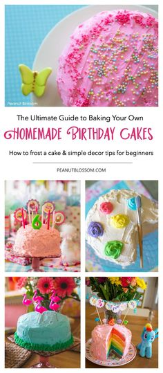The Ultimate Guide to Homemade Birthday Cake: How to frost a birthday cake and simple decoration tips for beginners who don't have frosting skills. These homemade birthday cake ideas are so pretty and yet still so easy to do! New Birthday Cake, Homemade Birthday Cakes, Homemade Cakes, Girl Birthday, Happy Birthday, Homemade Recipe, Birthday Crafts, 60th Birthday, Birthday Ideas