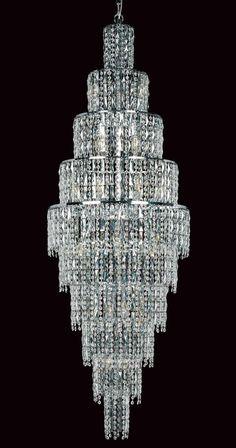 Impex New York Large 24 Light Crystal Chandelier Polished Chrome Stairwell Chandelier, Ceiling Chandelier, Gold Chandelier, Chandelier Ideas, Lounge Lighting, Lighting Store, Modern Lighting, Gold Wall Lights, Sparkling Lights